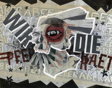 """Jan Thau """"IndianerHitler"""" 100 x 78 / Collage-Mischtechnik auf Alu / 2015"""