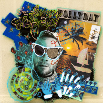 "Jan Thau ""supersonic-paranoid-hollyday-cruiser"" 90 x 90 / Collage-Zeichnung auf PVC / 2015"